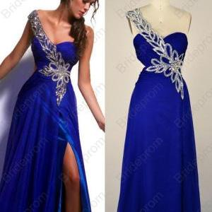 One-shoulder Royal Blue Prom Dress Long Evening Dresses Chiffon Prom Gown Custom Wedding Gowns