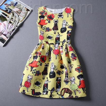 Short Retro Printing Patterns Women's Clothing Sleeveless Casual Dress YHD2-10 Size S M L XL