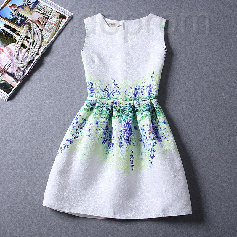 Short Retro Printing Patterns Women's Clothing Sleeveless Casual ...