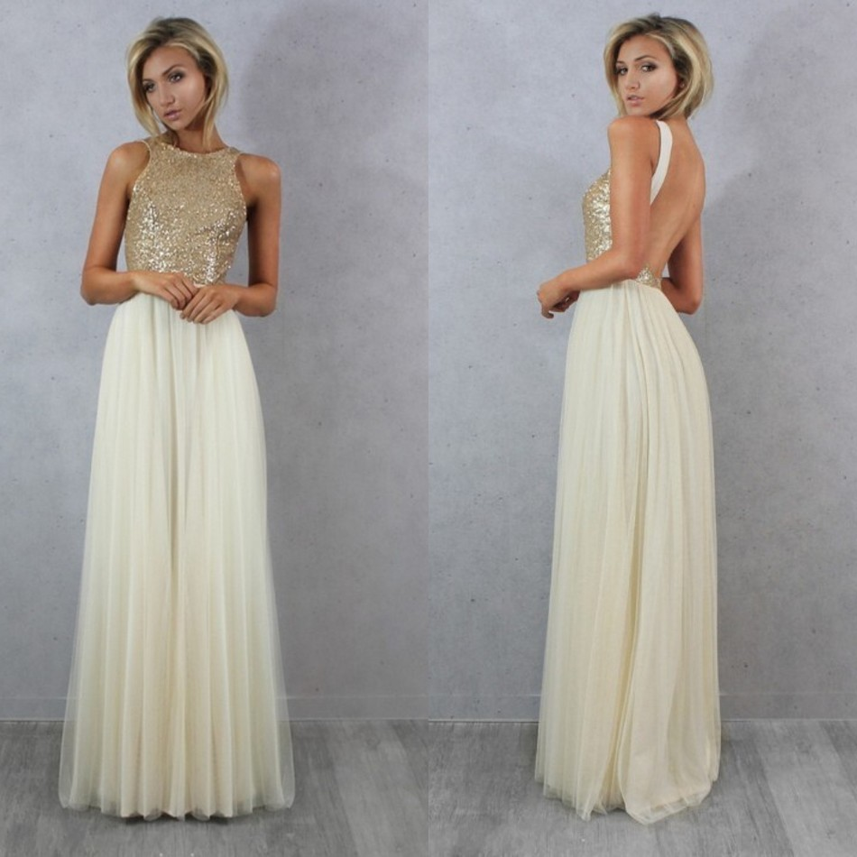 Sexy Tulle Top Champagne Gold Sequin Bridesmaid Dresses