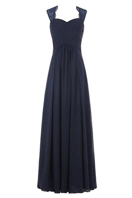 Long Pleated Chiffon Prom Bridesmaid Evening Dresses