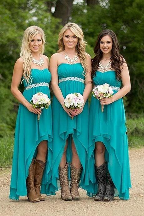 Women's Chiffon Prom Bridesmaid Party High Low Dresses