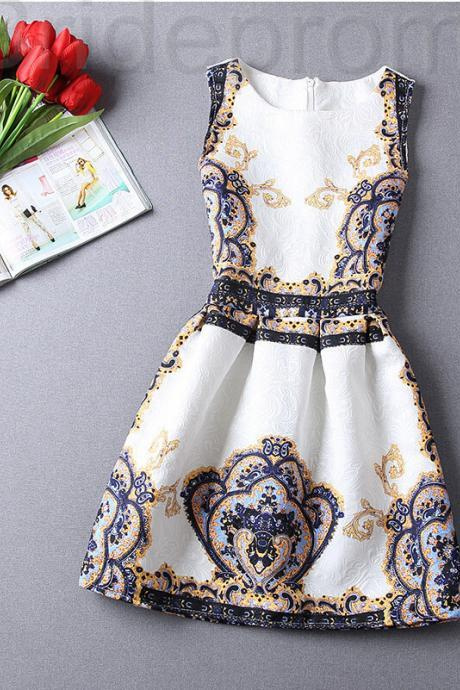 Short Retro Printing Patterns Women's Clothing Sleeveless Casual Dress YHD5-3 Size S M L XL