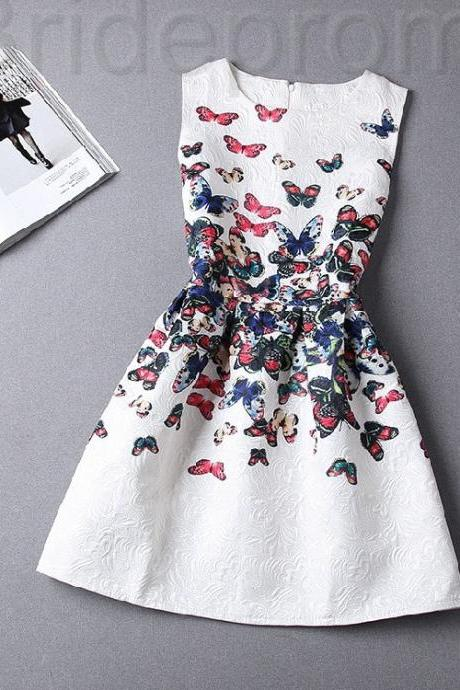 Short Retro Printing Patterns Women's Clothing Sleeveless Casual Dress YHD5-5 Size S M L XL