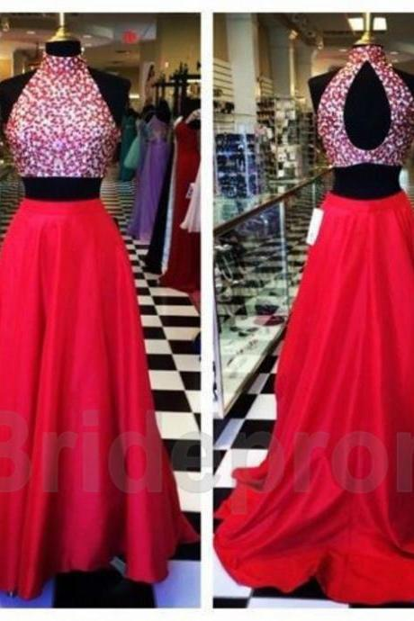 Sexy Red Two Piece Sets Prom Dresses Beades Long Evening Formal Party Gowns Custom Luulla