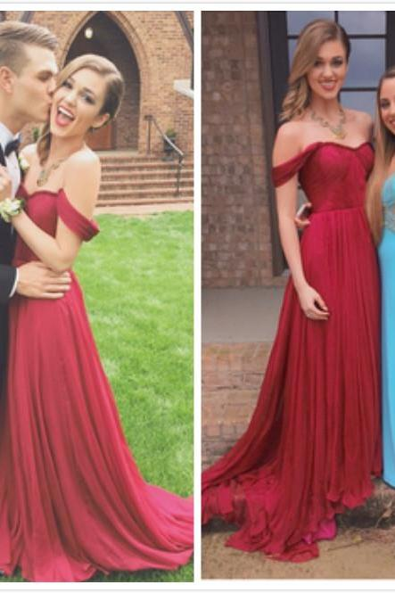 Burgundy Prom Dresses/ Bridesmaid Dresses/ Cap Sleeves Evening Dresses/ Formal Dresses/ Chiffon Prom Gowns
