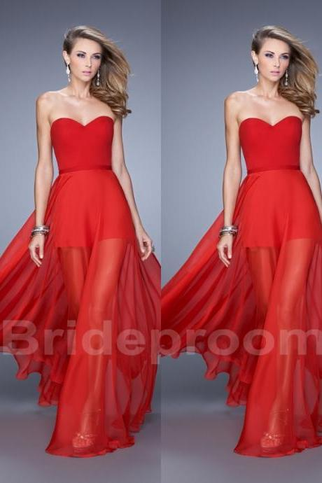 Red Simple Prom Dress Chiffon Party Evening Dress