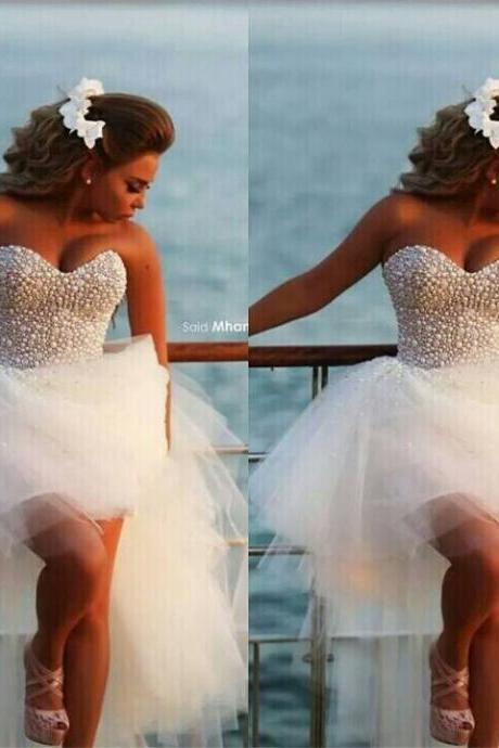 Beach Wedding Gowns Beading Pearls Hi Lo Sweetheart Ruched Ruffle Tulle Bridal Dresses