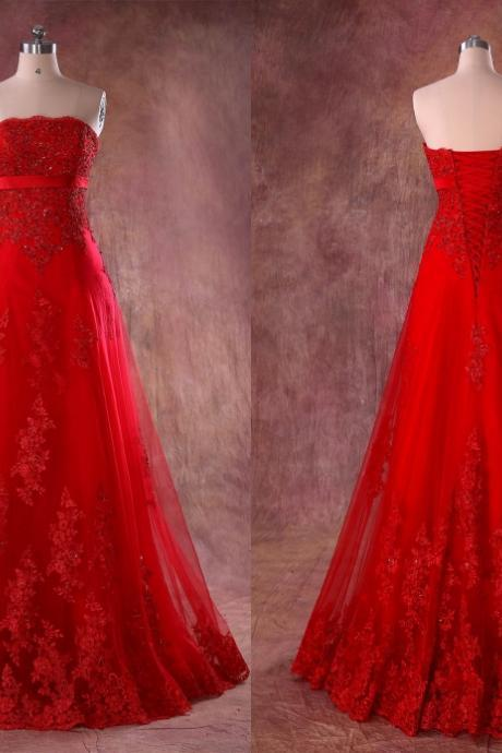 Red Lace Tulle Strapless Weddings Bridal Dresses