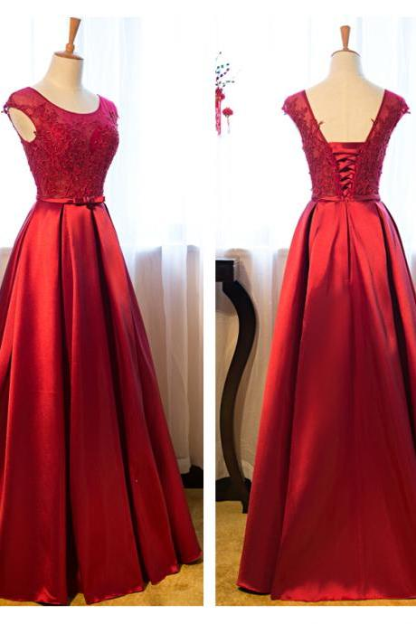 Burgundy Lace Prom Dresses A-line Satin Wedding Party Gowns
