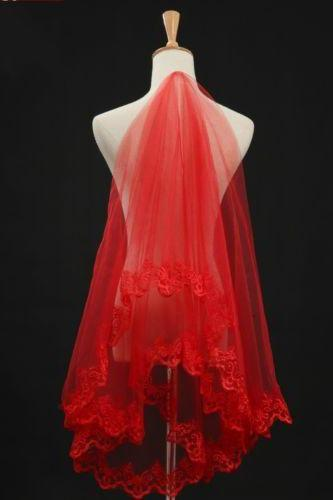 Wedding Veil 1.5m Red Lace Bridal Veil