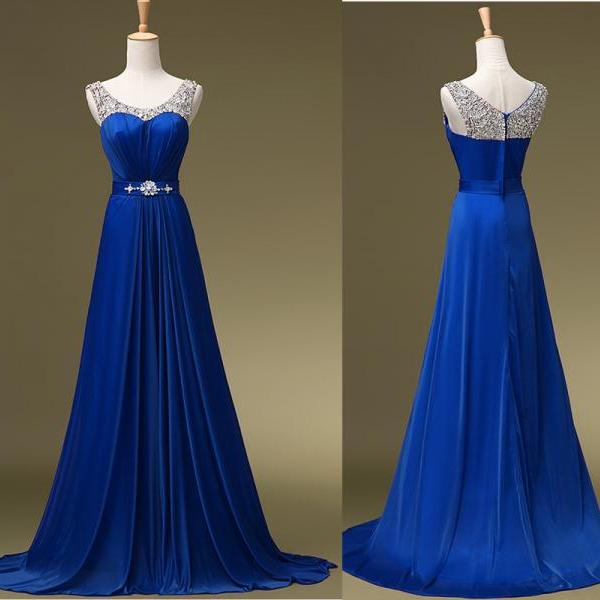 Blue Prom Dress,Strap Long Chiffon Prom Party Evening Gowns