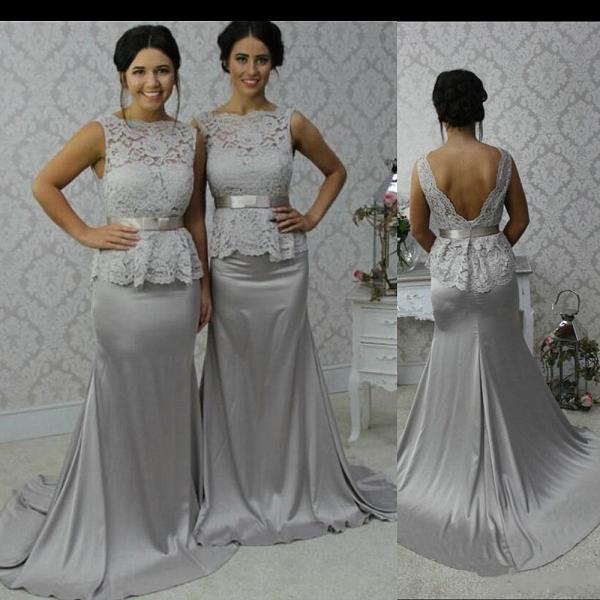 Grey Lace Prom Bridesmaid Dresses